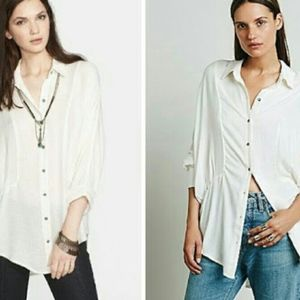 Free People True Affection Button Up Top Sz S